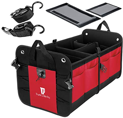 ada980b52a7 Amazon.com: Trunkcratepro Collapsible Portable Multi Compartments Trunk  Organizer, Red: Automotive
