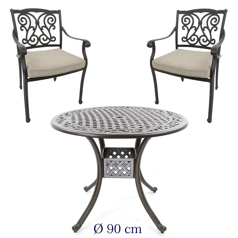 aluguss gartenm bel set gartenm belgarnitur bestehend aus gartentisch 90 cm und 2. Black Bedroom Furniture Sets. Home Design Ideas