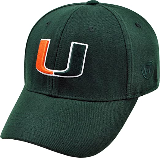 Team Color, Top of the World Miami Hurricanes Adult NCAA Team Spirit Relaxed Fit Meshback Hat