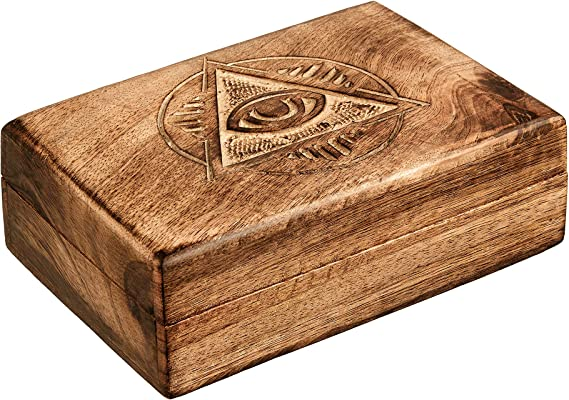 Home Decor Handcrafted Wooden Trinket Jewelry Box with Built in Goldtone Compass