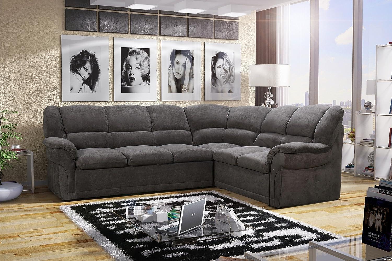 Rabatti Birgit Sofa Couch Schlafsofa mit Schlaffunktion Polsterecke für Wohnzimmer, Ottomane Rechts, Schenkelmass: 270cm x 220cm