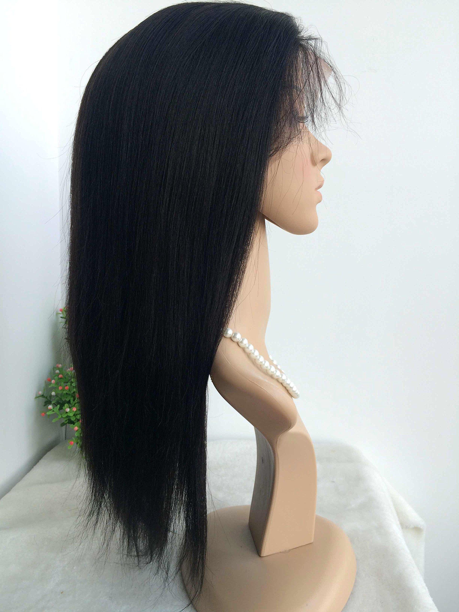 7A grade CHINESE VIRGIN LIGHT YAKI,medium length 16 inch,120 density,GLUELESS FULL LACE WIGS,SILK TOP,BLEACHED KNOTS