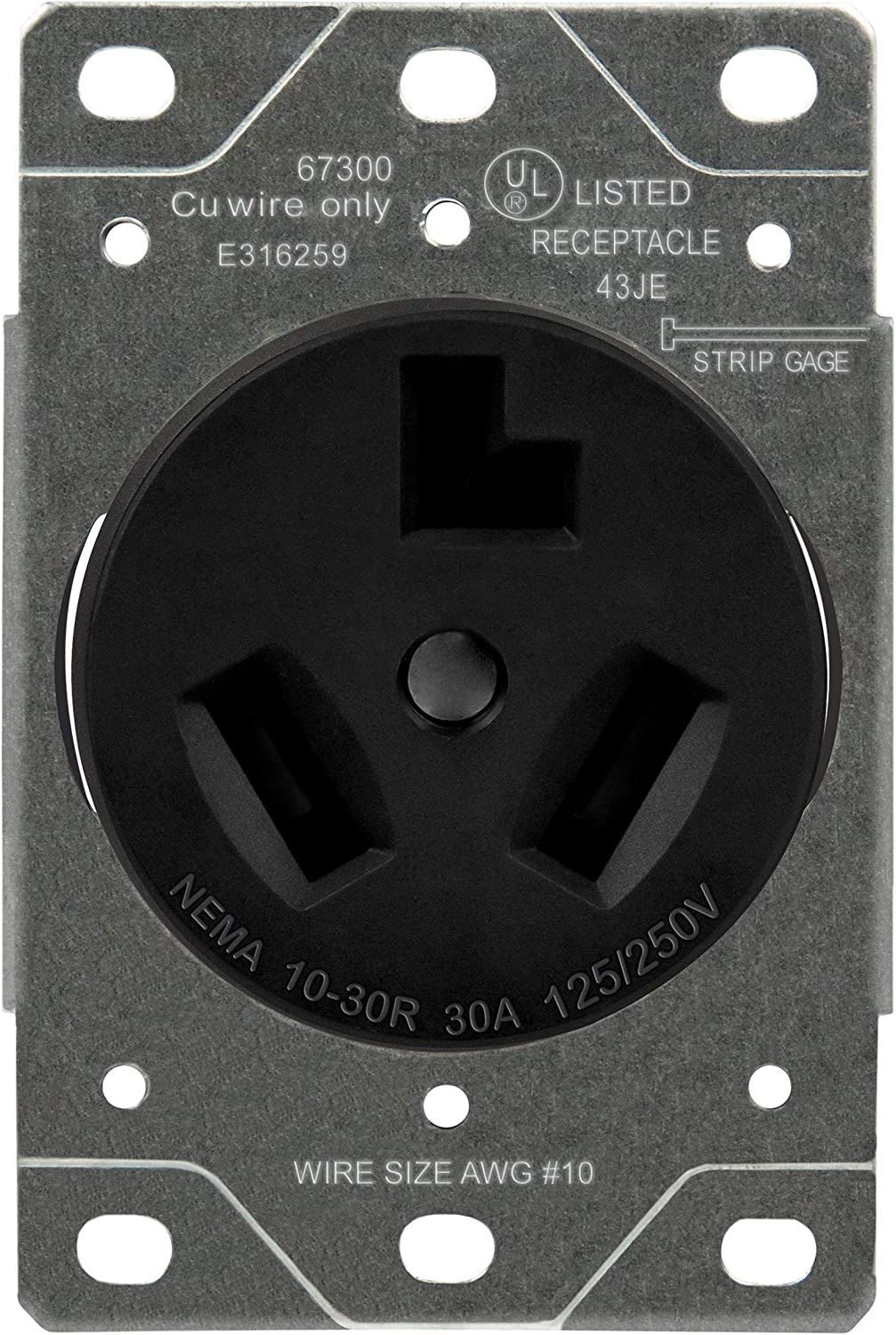 ENERLITES 30 Amp Dryer Receptacle Outlet for Electric Dryers, NEMA 10-30R, Residential Commercial Industrial Grade, Outdoor/Indoor, 3-Pole, 3 Wire, No Ground Contact, (10,8,6,4) AWG, UL Listed