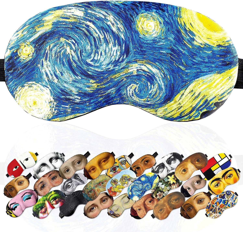Eye Sleep Mask Starry Night Van Gogh for Women Men - Sleeping mask 100% Soft Cotton - Comfortable Eye Sleeping Mask Night Cover Blindfold for Travel Airplane (Starry Night, Plastic Pack)