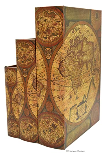 Amazon set 3 nesting wood book stacking antique old world map set 3 nesting wood book stacking antique old world map in latin decorative boxes gumiabroncs Image collections