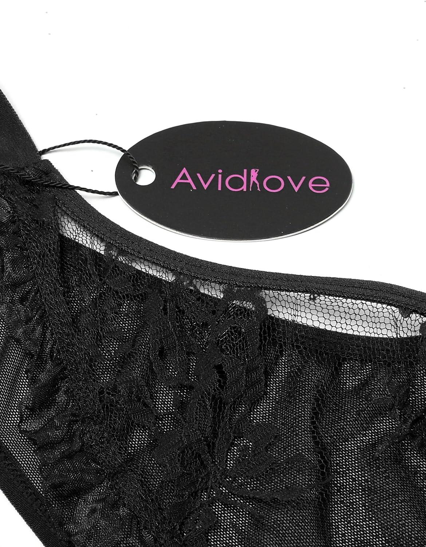 Avidlove Women Snap Crotch Bodysuit Lingerie Deep V Plunging Lace Teddy