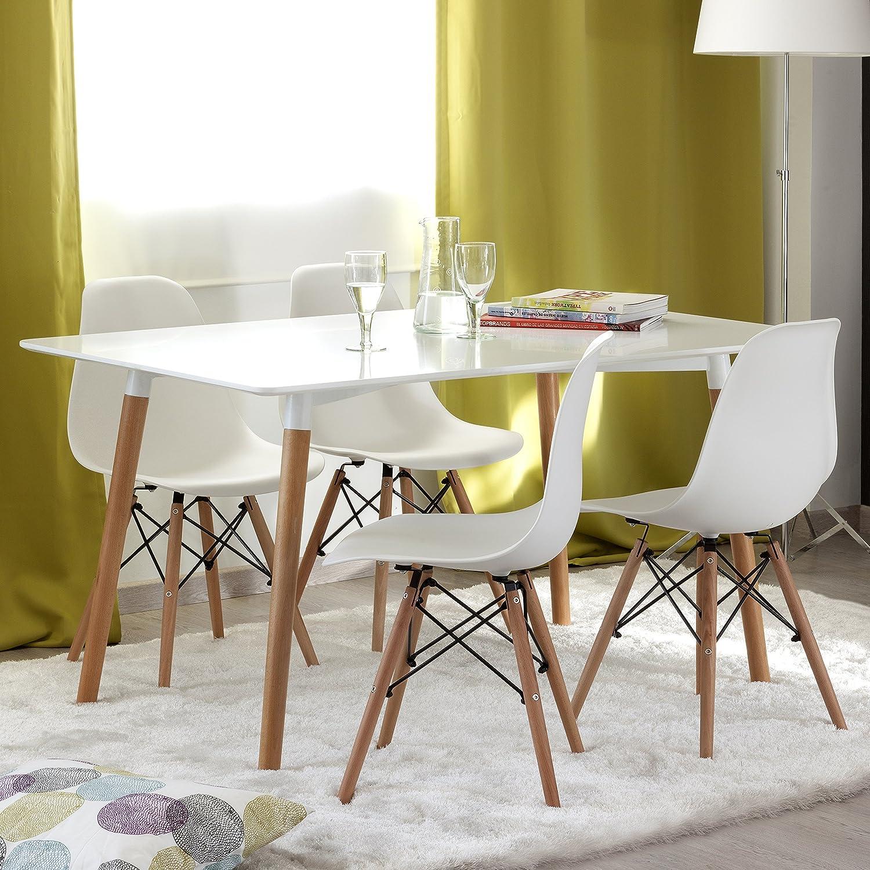 NAKURA Conjunto de comedor TOWER con mesa lacada blanca y 4 sillas