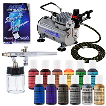 Master Airbrush Cake Decorating Airbrushing System Kit with a Set of 12  Chefmaster Food Coloring Colors, S68 Siphon Feed Dual-Action Airbrush, Air  ...
