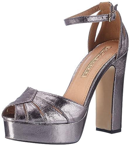 Buffalo David Bitton Buffalo Shoes 315276 Lh-129 Met PU, Sandales Bout Ouvert Femme, (Pewter 40), 40 EU