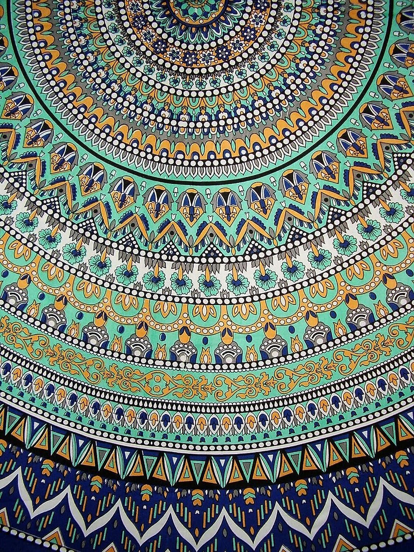 "India Arts Geometric Pattern Round Cotton Tablecloth 90"" x 90"" Multi Color"