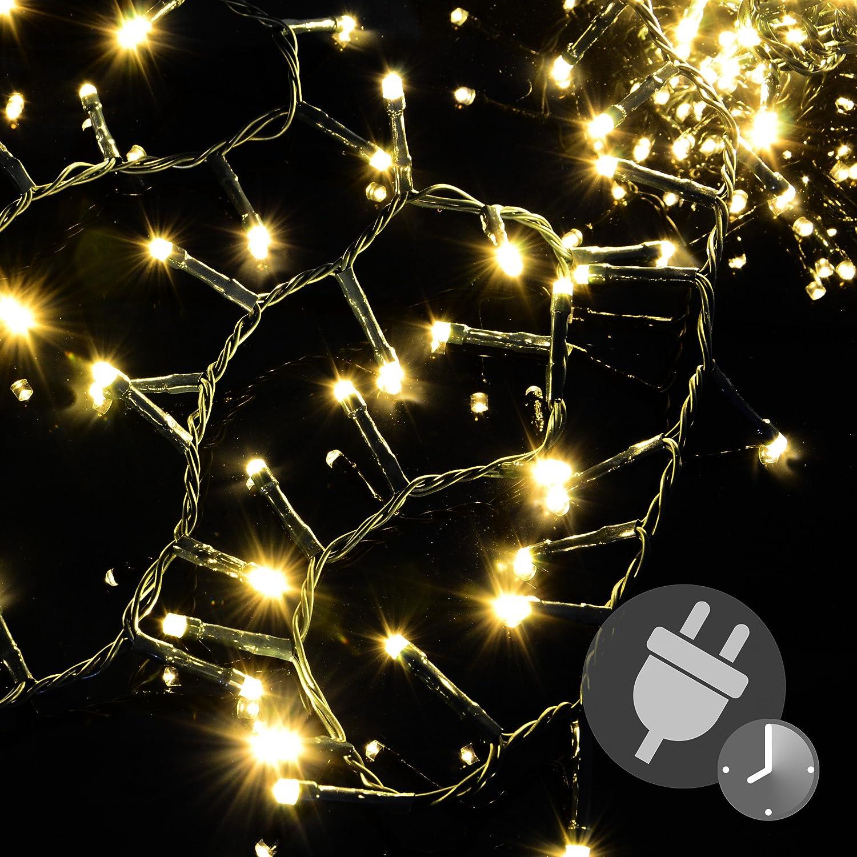 1000 LED Büschellichterkette Cluster warm-weiß für Außen IP44 Außen-Trafo 6h-Timer grünes Kabel 30 m Weihnachtsdekoration Party Xmas Nipach GmbH