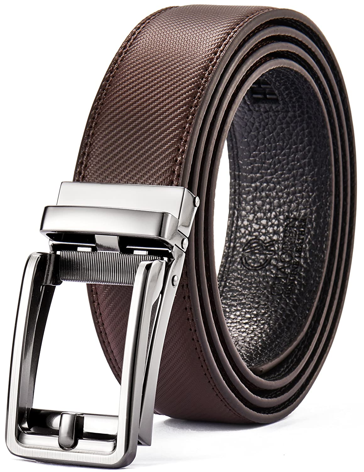 Men's Leather Ratchet Belt Dress with Slide Click Buckle – Trim to Exact Fit-Gift Box CHAOREN