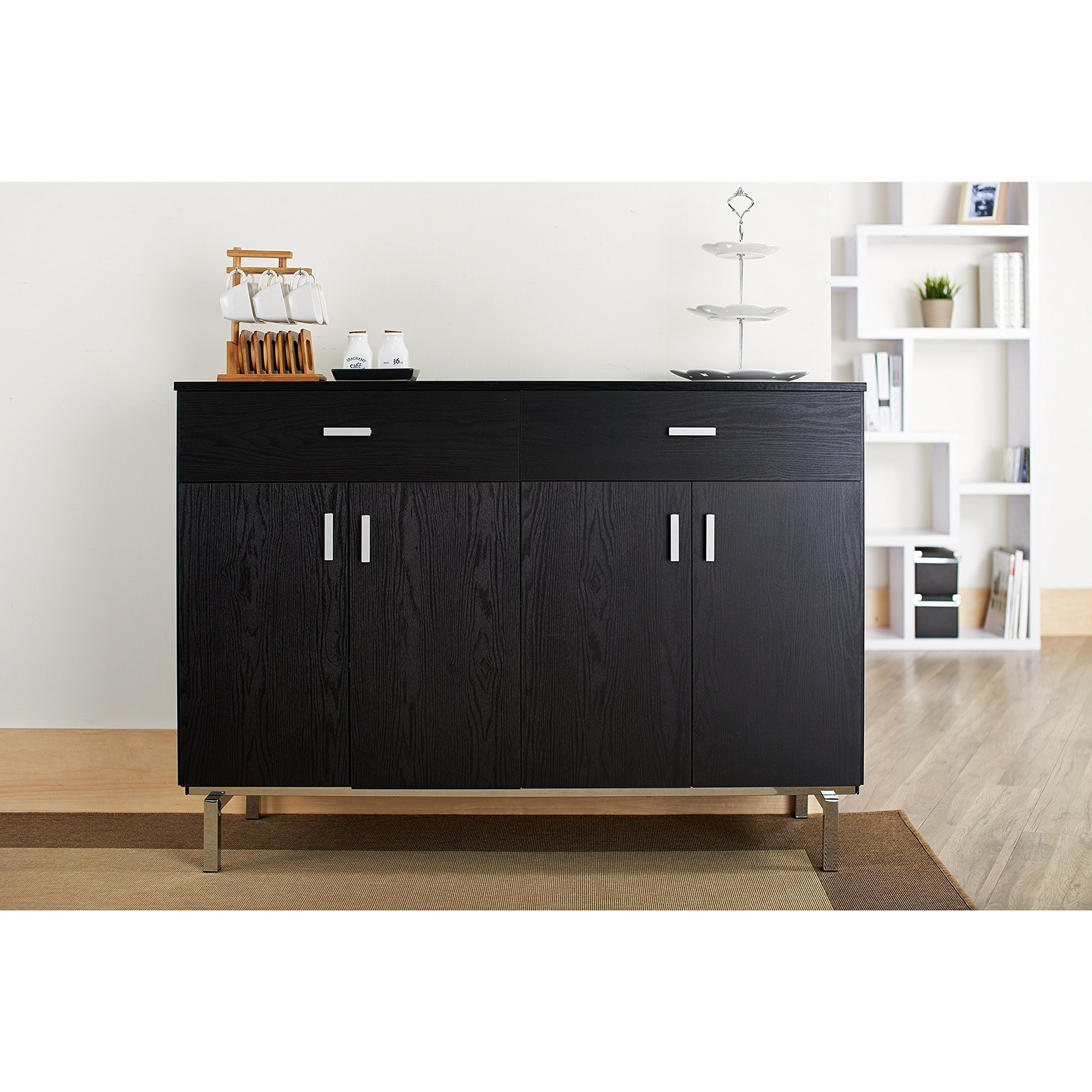 ModHaus Living Contemporary Wood Sideboard Buffet Table with Metal Legs Wine Holder 2 Drawers and 2 Cabinets - Includes Pen (Black)