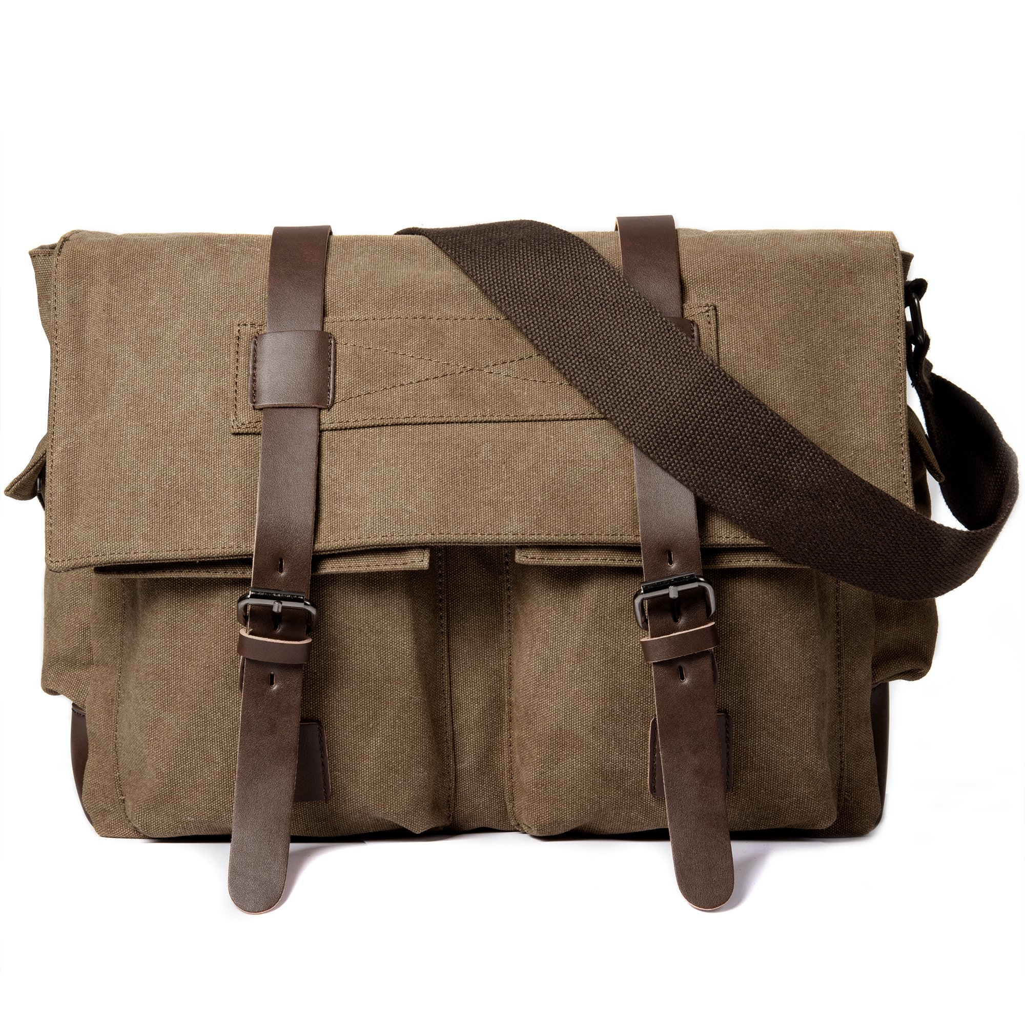 Messenger Bag, Cambond Canvas Laptop Satchel Bag Vintage 14'' Military Shoulder Bookbag Travel Bag for Men and Women Gift (Coffee)