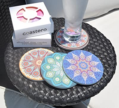 Absorbent Drink Coasters With Mandala Design