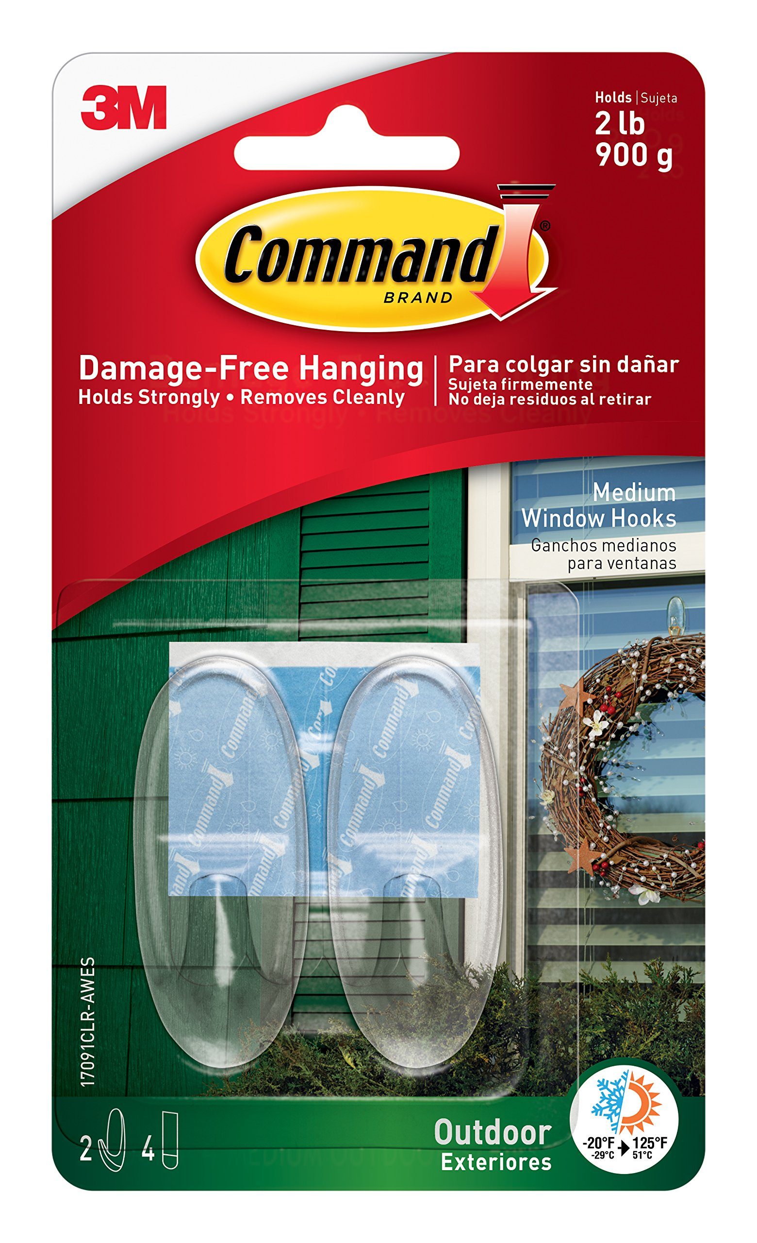 Command Outdoor Window Hooks, Medium, Clear, 2-Hooks, 4-Pack