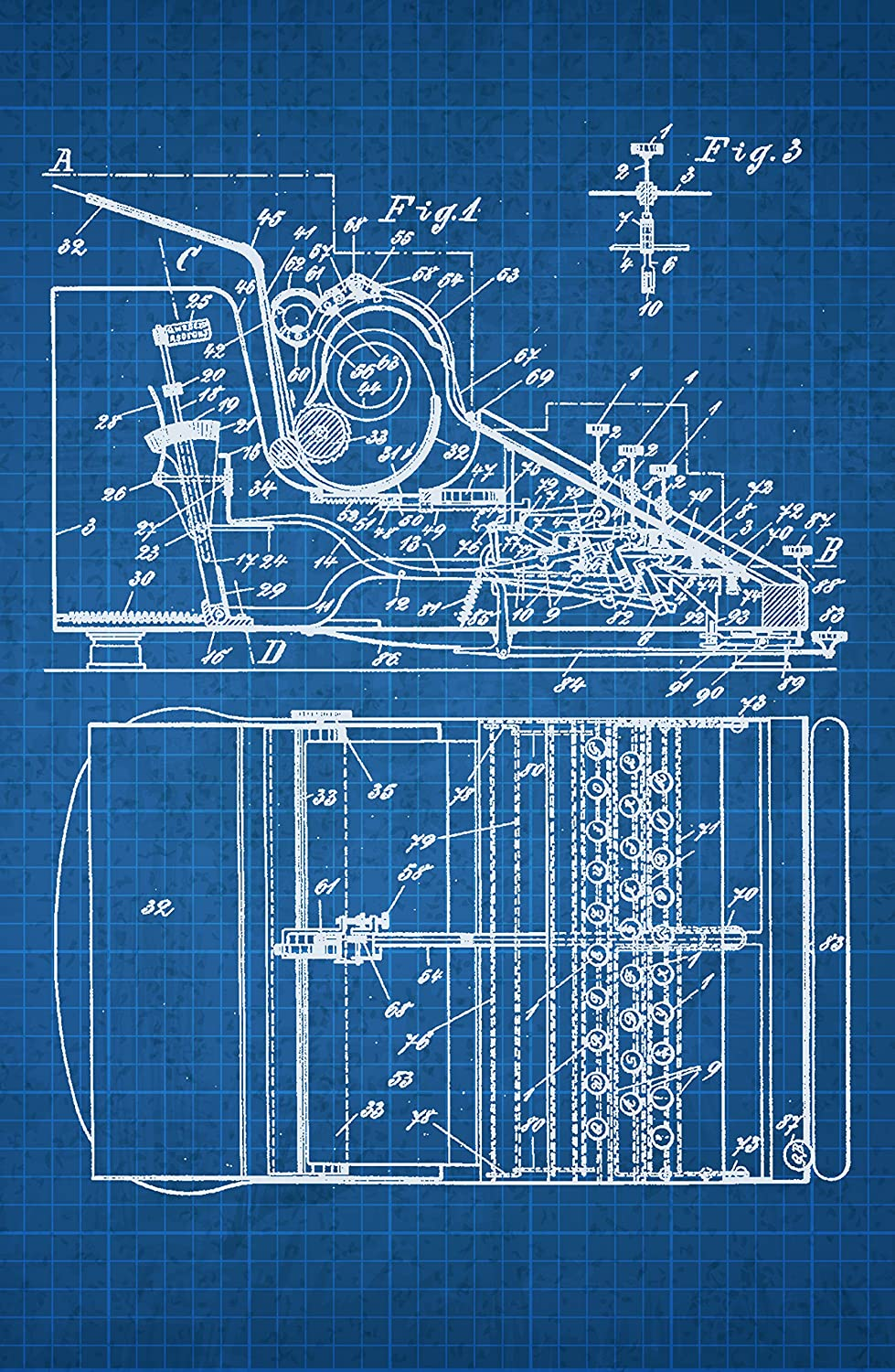 Amazon.com: Typewriter on White on Blue Graph - Patents - 24x16 ...
