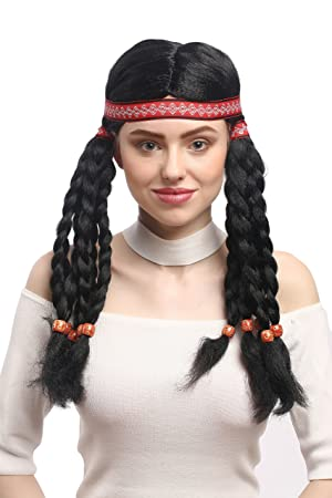WIG ME UP ® - W-12841-P103 Peluca señoras Carnaval elaborada India Hippie