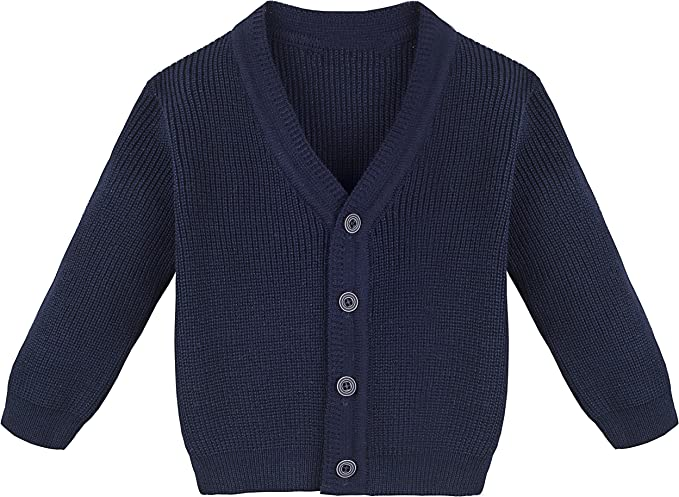 Sooxiwood Little Boys Cardigan Sweater Plaid Buttons V-Neck