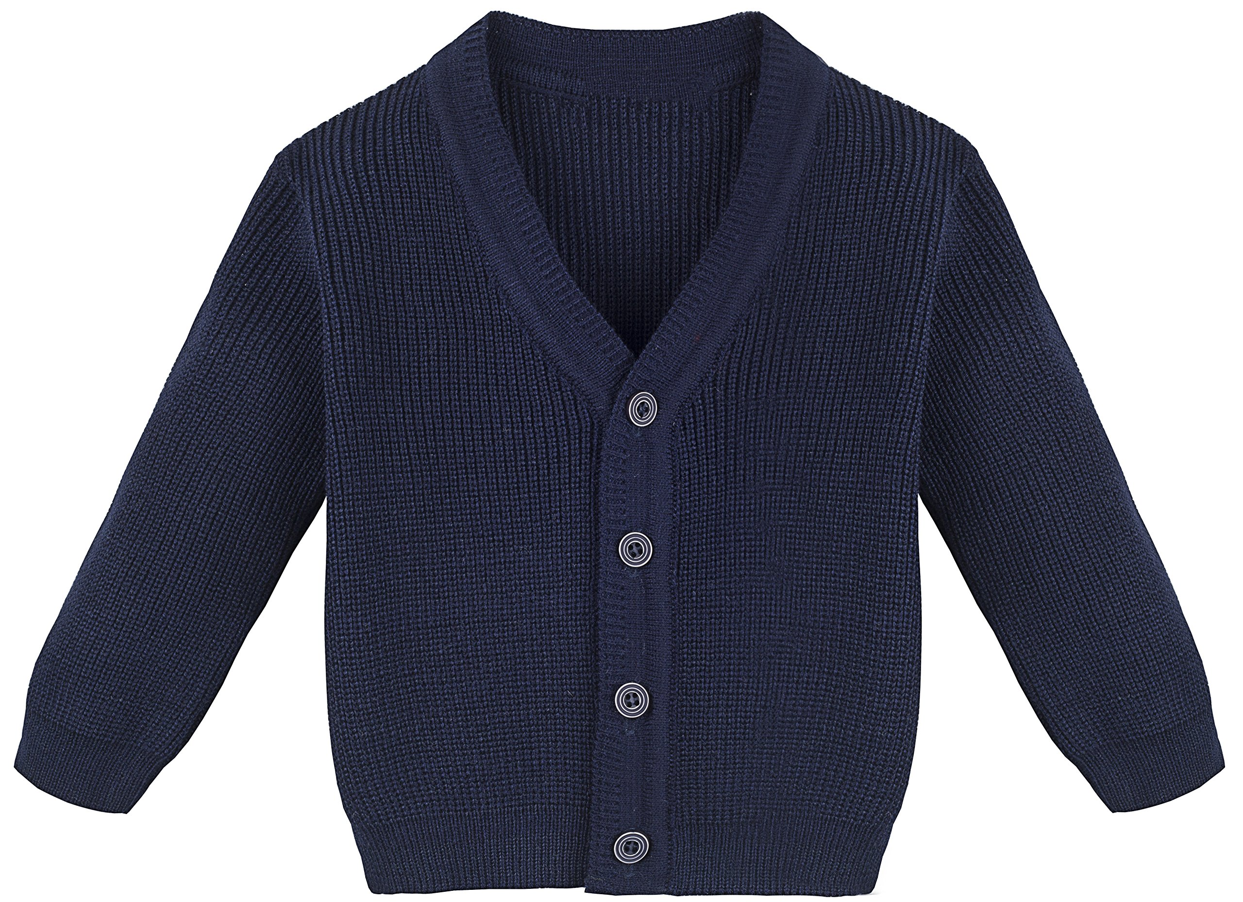 Lilax Little Boys Basic Long Sleeve V-Neck Classic Knit Cardigan Sweater 2T Navy