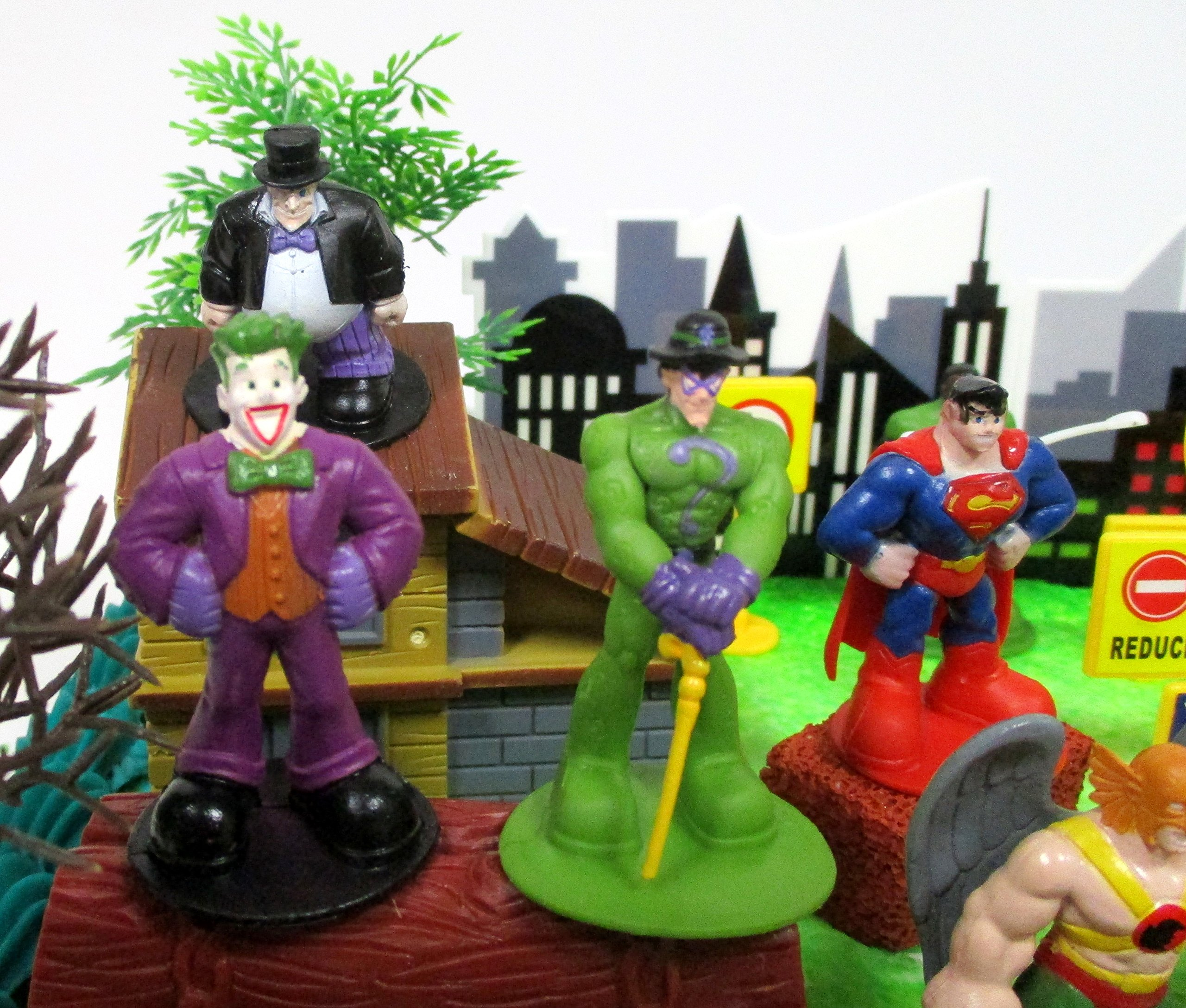 DC Comic Super Friends Birthday Cake Topper Set Featuring Super Hero Crime Fighters and Villains with Decorative Accessories by Kitoo (Image #2)