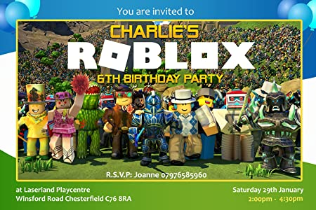 Roblox Party Invitations Envelopes Invites Personalised Click Customize Now For Prices