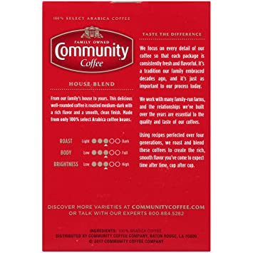 Community Coffee House Blend Medium Dark Roast Single Serve 18 Ct Box,  Compatible with Keurig