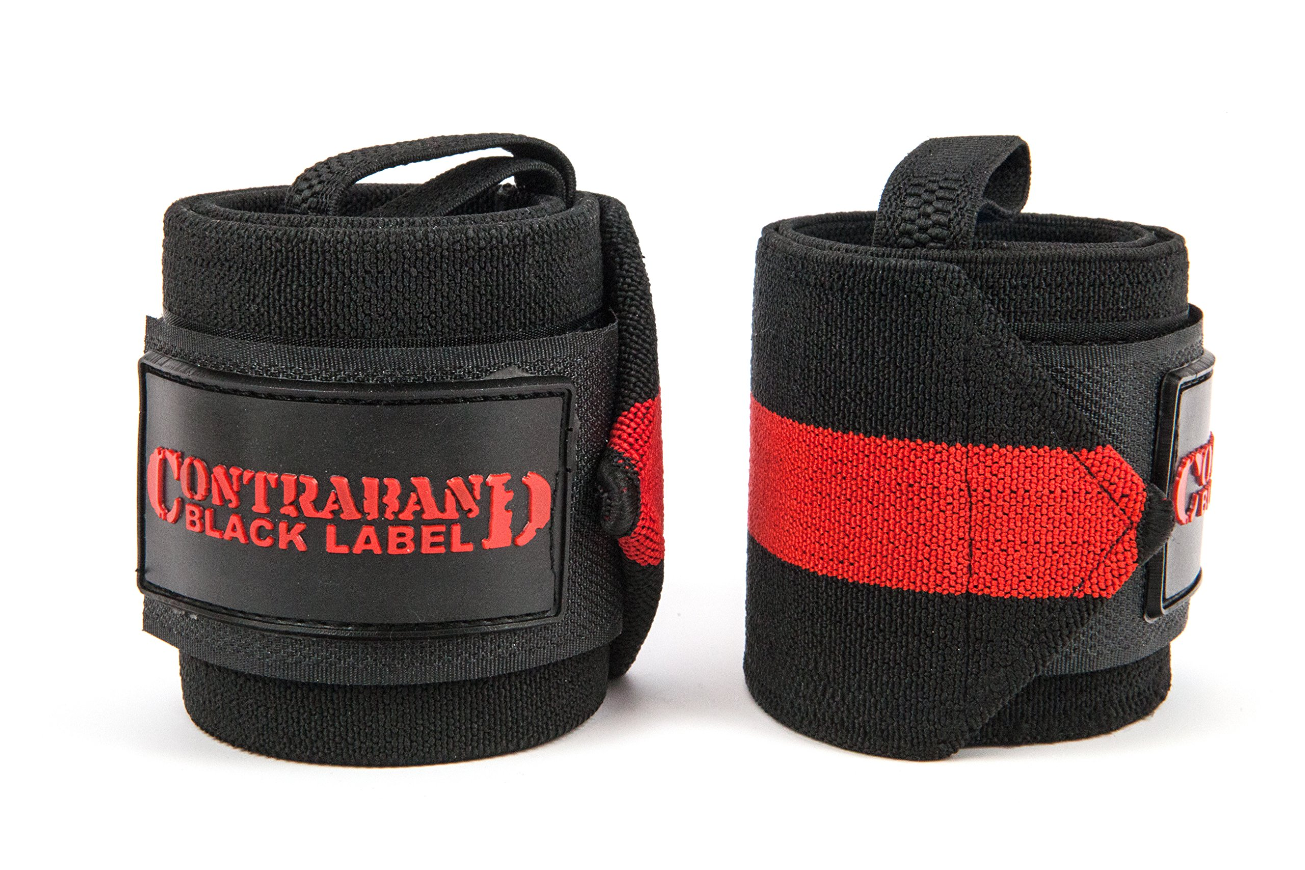 Contraband Black Label 1001 Weight Lifting Wrist Wraps w/Thumb Loops (Pair) - Competition Grade Wrist Support USPA Approved for Powerlifting, Bodybuilding, Strongman (18in, Extreme (RED))