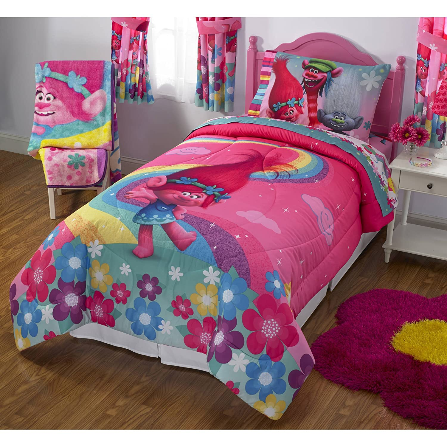 1 Piece Girls Hot Pink Trolls Show Me A Smile Princess Poppy Comforter Twin Full, Rainbow Branch Floral Boho Chic Cartoon Themed Bedding Blue Pink Red Reversible Cartoon Printed Kids Bedding Polyester