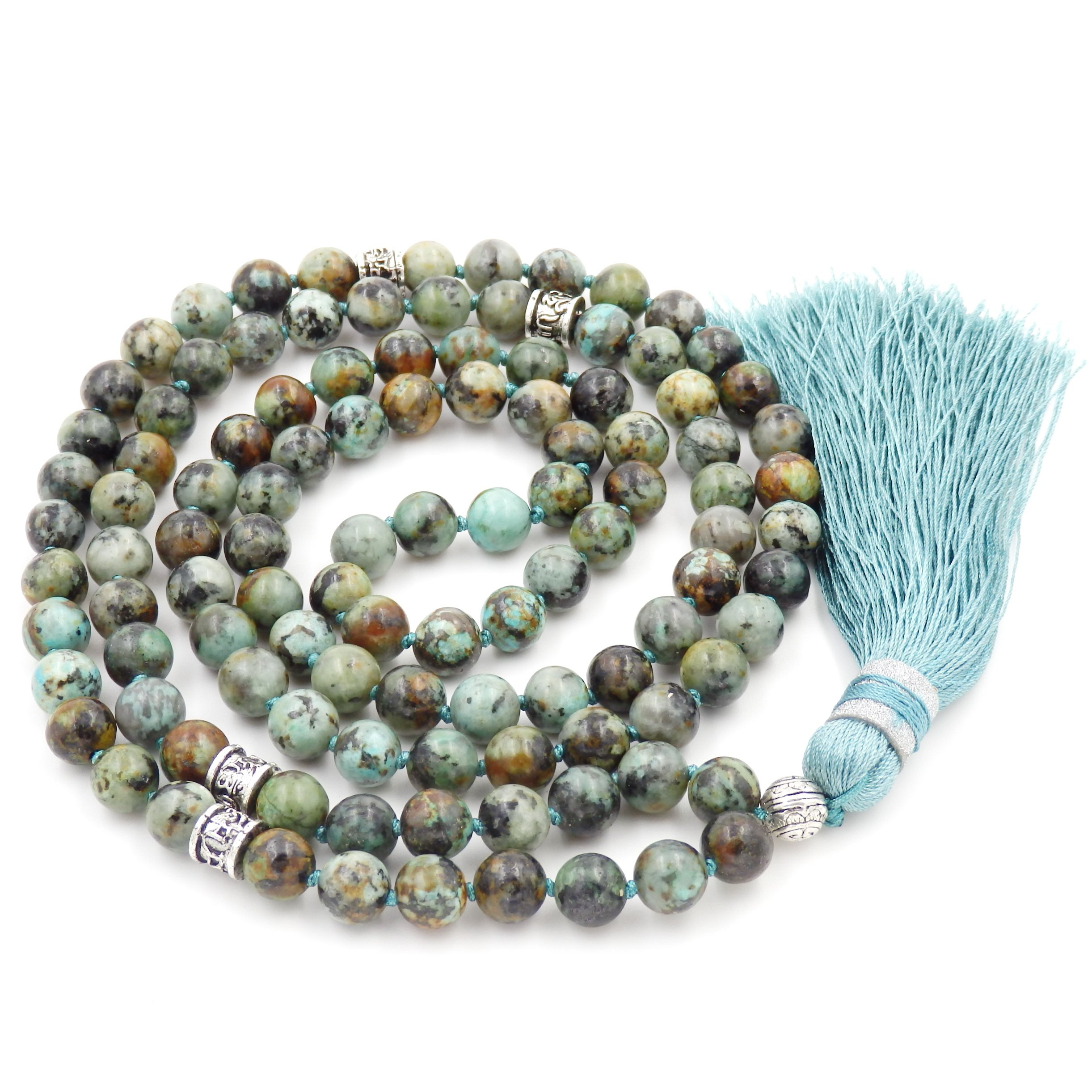 Gemstone Mala Beads Necklace, Mala Bracelet, Buddha Necklace, Hand Knotted Mala (African Turquoise) by Malahill