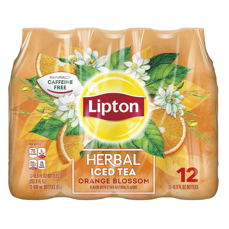 Lipton Herbal Iced Tea Orange Blossom 16.9oz Bottles Pack, (Pack of 12) 202.8 Fl Oz