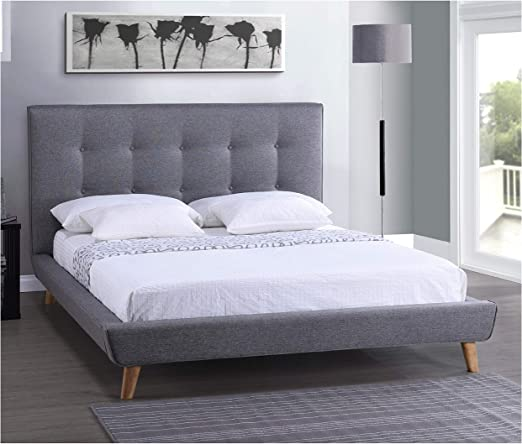 Amazon Com Platform Beds Full Size Modern Grey Linen Upholstered