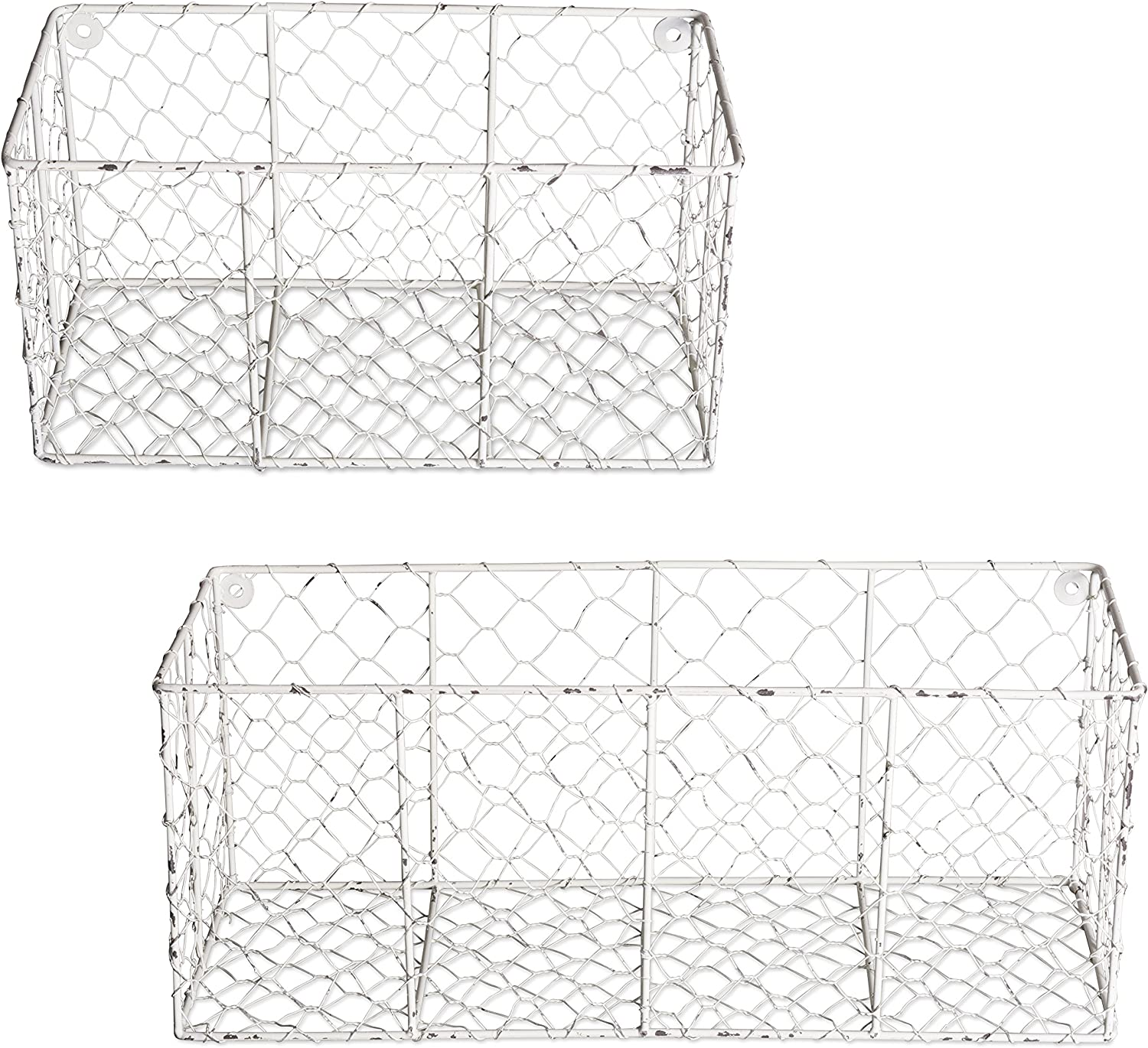 DII home-storage-baskets, Assorted Set of 2, Antique White