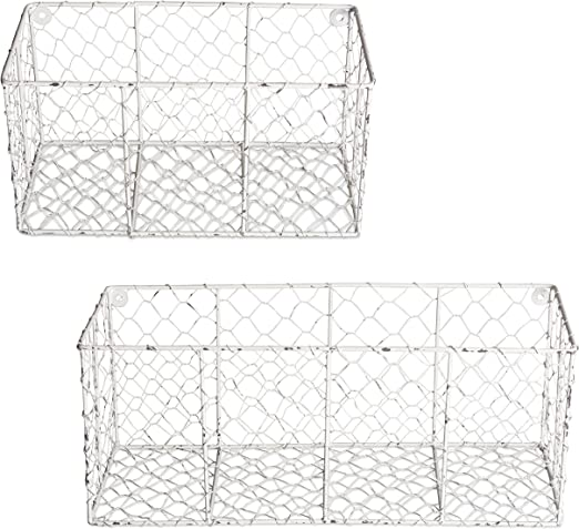 Home Traditions Rustic Farmhouse Vintage Chicken Wire Wall Basket Set of 2