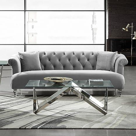 Amazon.com: Elegance LCEG3GR Contemporary Sofa, Gray Velvet: Kitchen ...