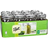 Ball Wide Mouth Quart Jars with Lids and Bands, Set of 12