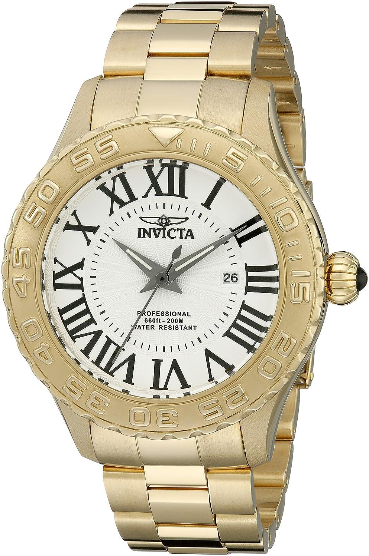 Invicta Herren Pro Diver 14379 Silber strukturierte Zifferblatt 18k Ion Plated Edelstahl-Uhr