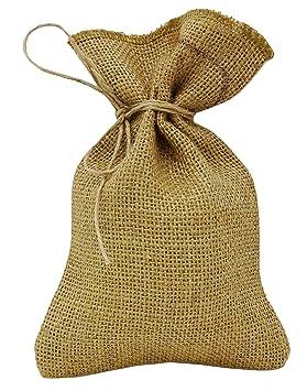 caad59662 50 Rústico Natural favor de partido de la boda bolsa de yute con cordón  gracias pequeño