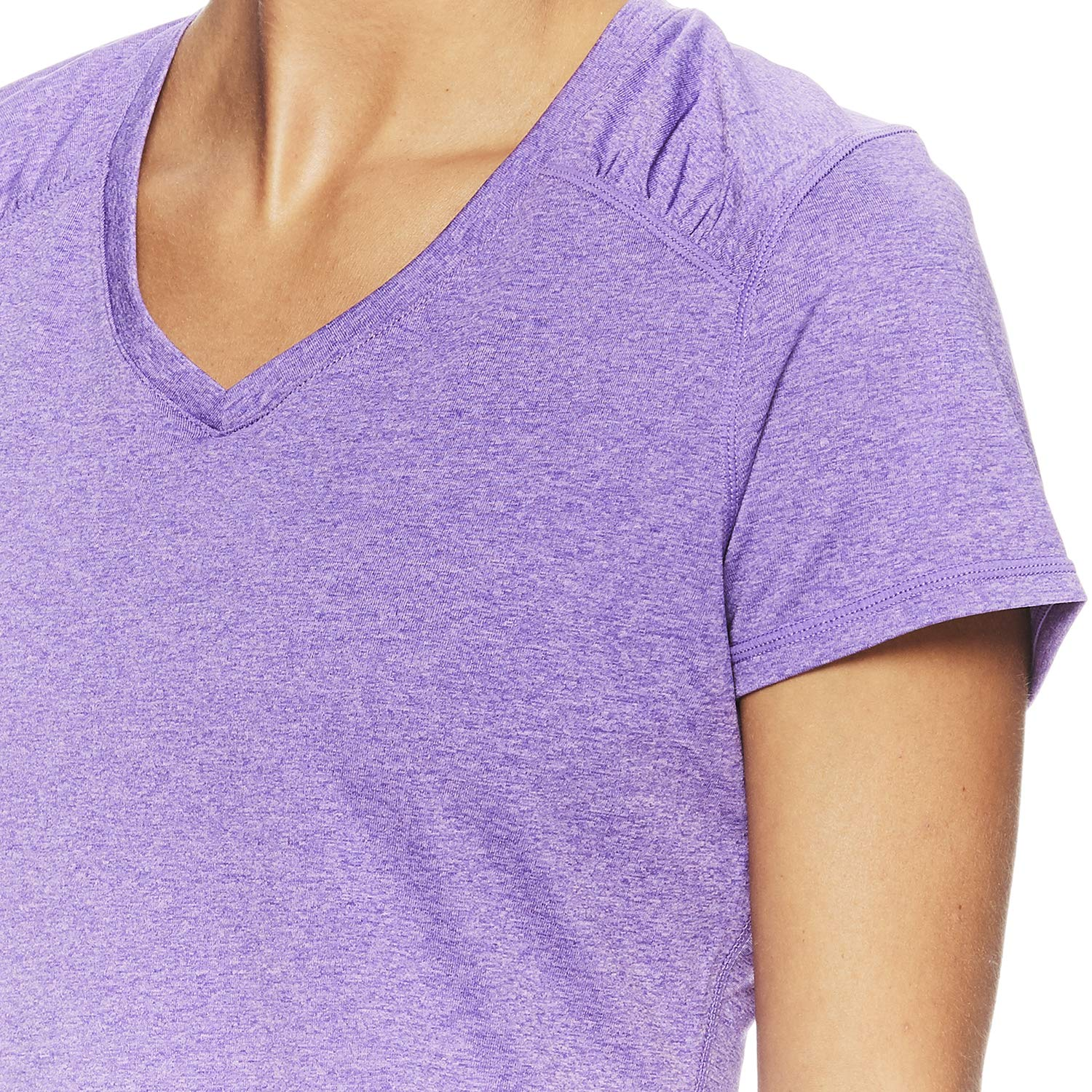 HEAD Women's Brianna Shirred Short Sleeve Workout T-Shirt - Marled Performance Crew Neck Activewear Top - Brianna Chive Blossom Heather, X-Small by HEAD (Image #4)