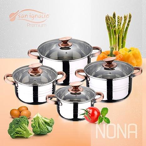 San Ignacio Premium Nona - Bateria de cocina de 4 piezas, acero inoxidable, 1.9L-2.7L-3.5L-5.1L, apta para todo tipo de cocinas incluido inducción, ...