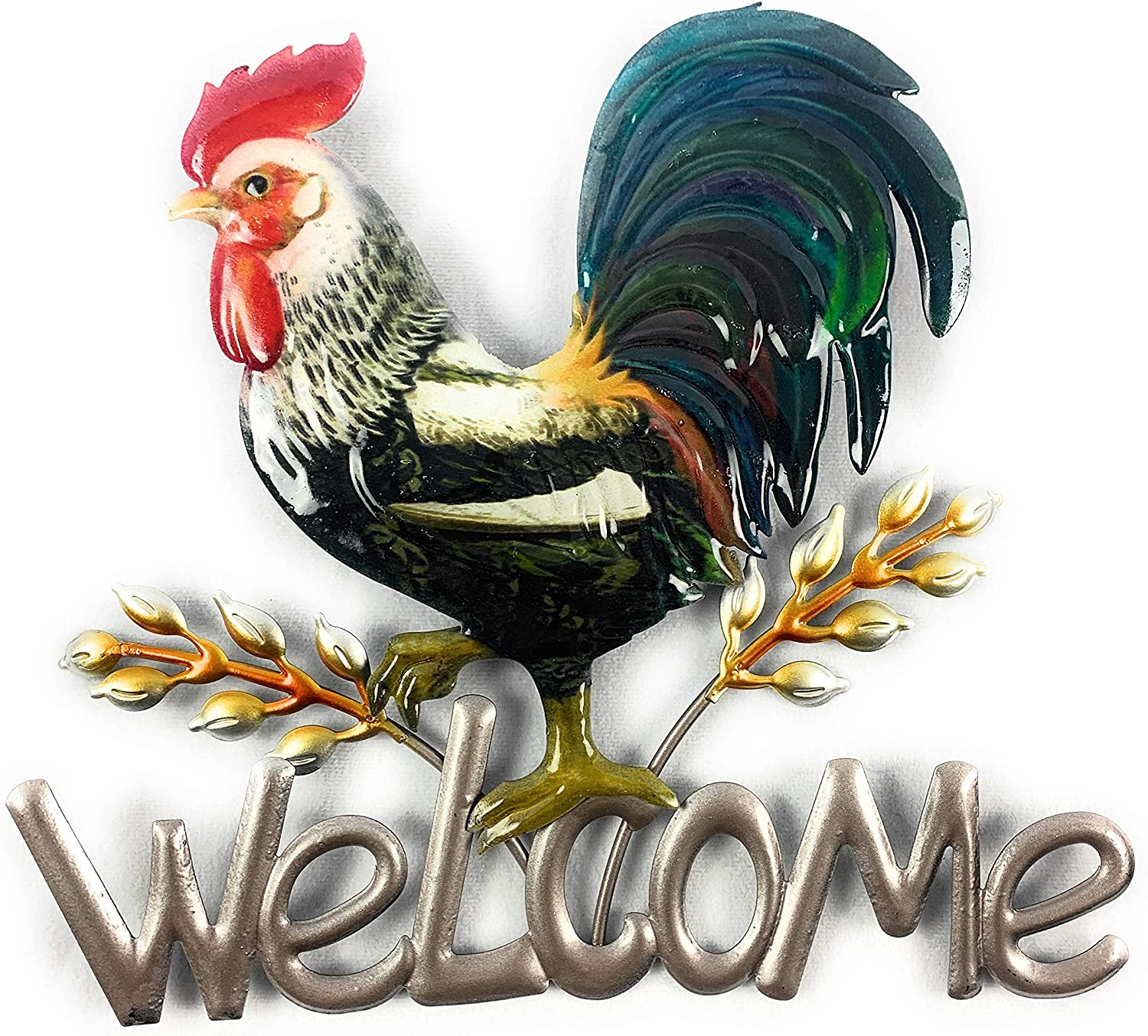 GSC Metal Rooster Welcome Sign 3D Decor Plaque Hanging Sculpture for Outside On Porch Patio Front Door Or Inside in Entryway Kitchen Living Room Or Farmhouse, 10.5X11.5 inches