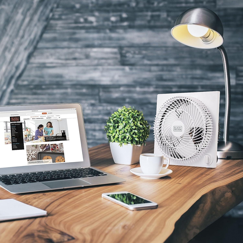 BLACK+DECKER Mini Box Fan – Tabletop Quiet 9 Inch Desk Box Fans Frameless BFB09W White: Home & Kitchen
