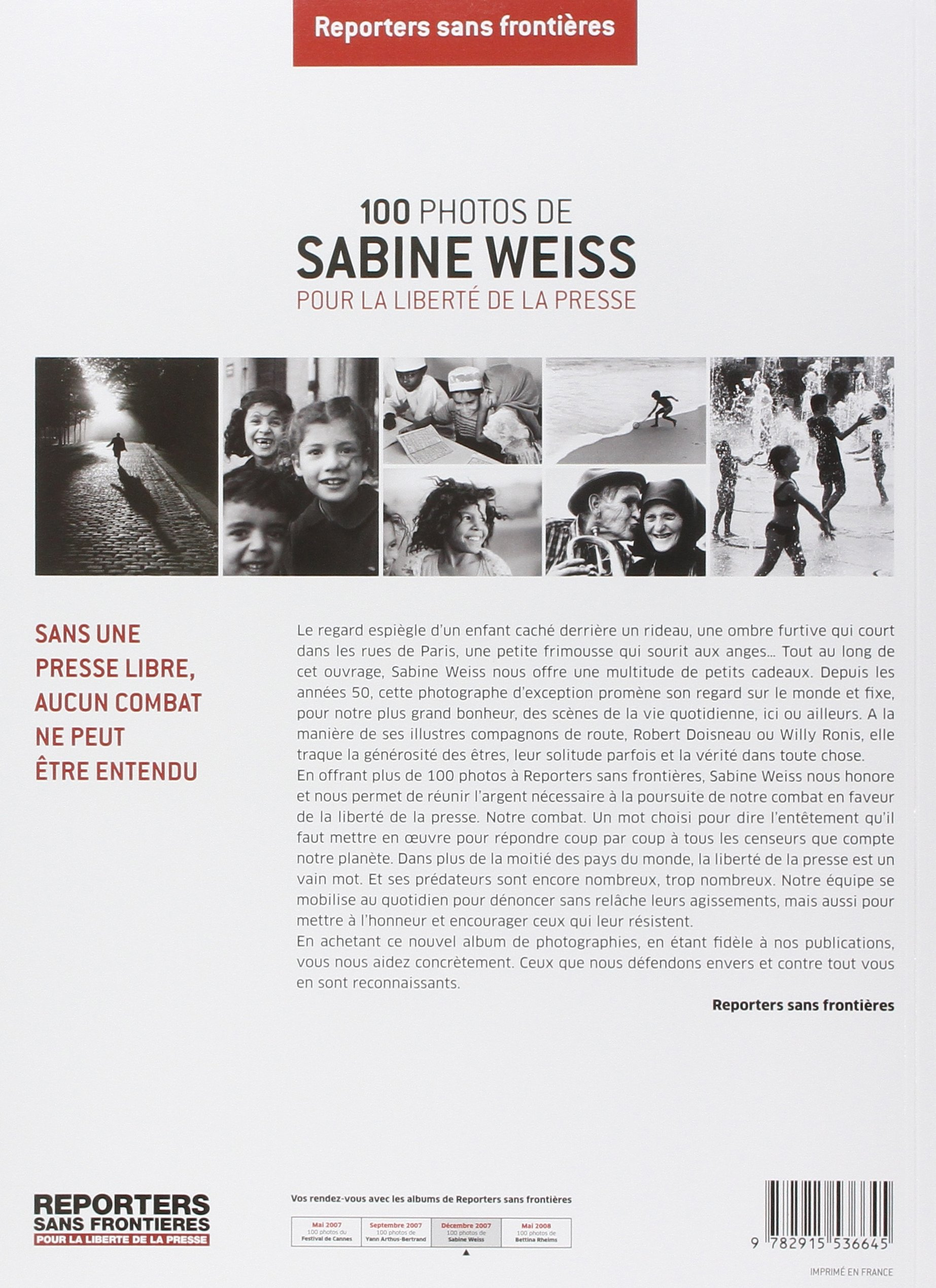 100 Photos de Sabine Weiss pour la liberté de la presse (French Edition): SABINE  WEISS: 9782915536645: Amazon.com: Books