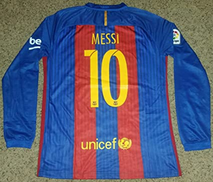 1f45a1fee5c Image Unavailable. Image not available for. Color  2016 2017 FC Barcelona  Messi Long Sleeve  10 Home Jersey ...