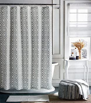 cream colored shower curtain. Tommy Hilfiger Fabric Shower Curtain Gray Diamond Pattern on Cream  Background Lake Amazon com