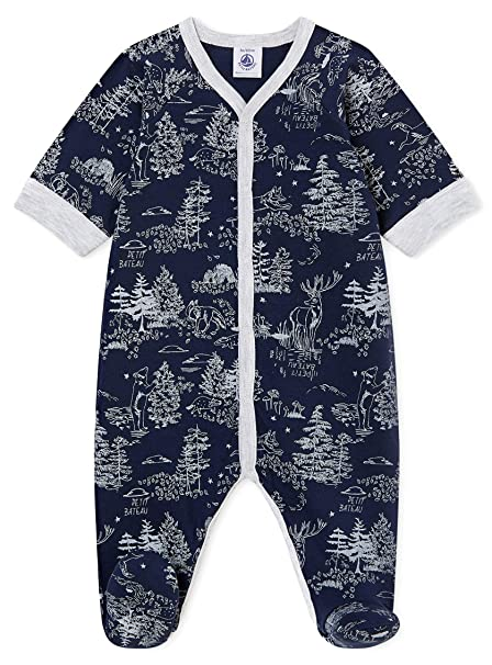 Petit Bateau 2 Pc Set Navy and Metallic Sparked Print Romper with Hat
