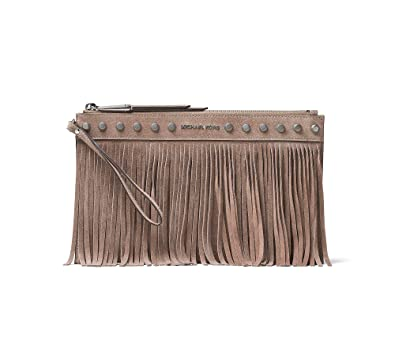 5419f95780 Image Unavailable. Image not available for. Color  MICHAEL Michael Kors  Womens Billy Suede Fringe Clutch Handbag Beige Small