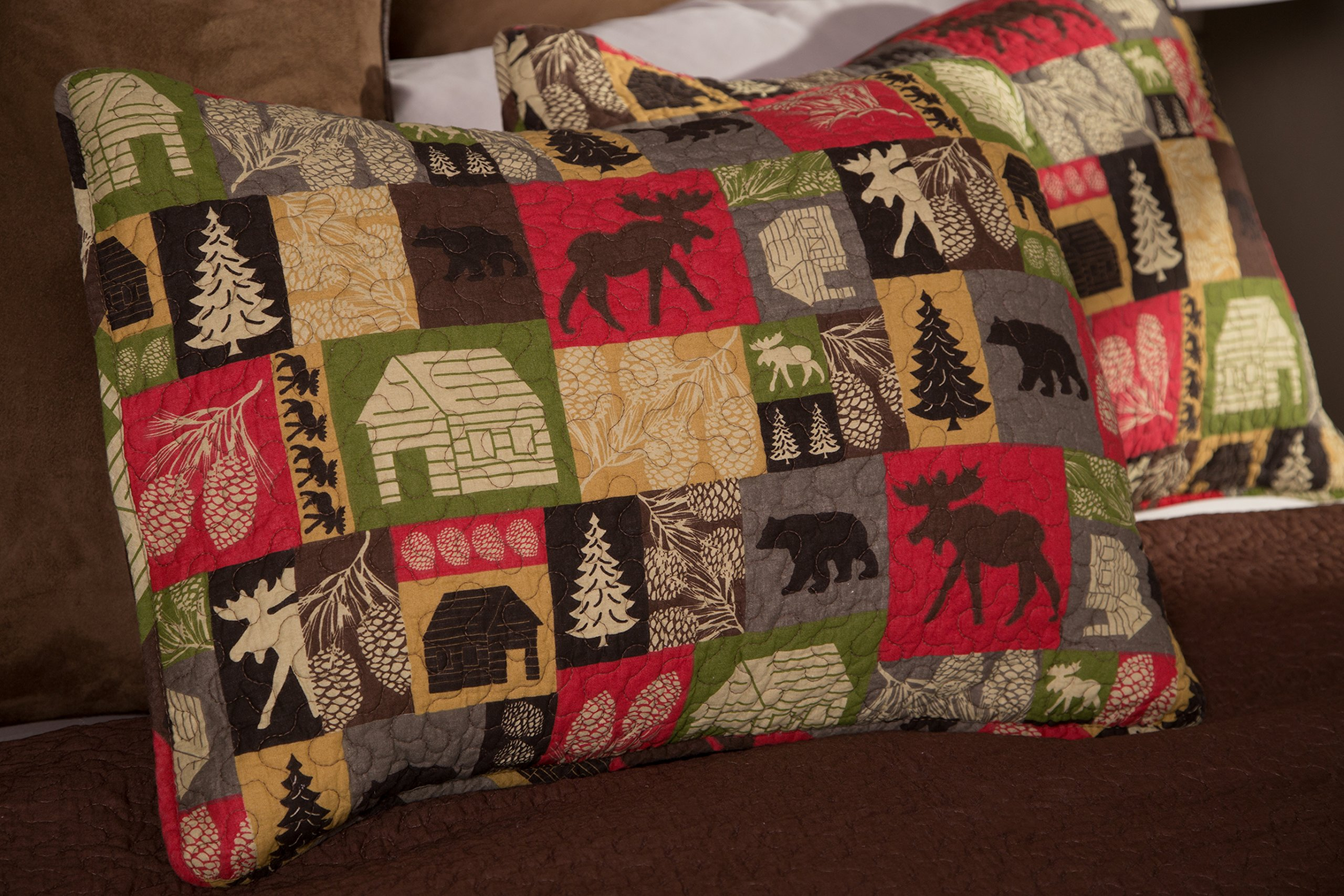 Carstens Cabin in The Woods 5 Piece Cotton Printed Quilt Bedding Set, Queen by Carstens (Image #4)
