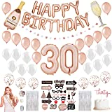 30th Birthday Decorations for Her - 34 Balloons, 25 Photoshoot Pre-assembled Props, 2 Foil Backdrops, Birthday Queen…