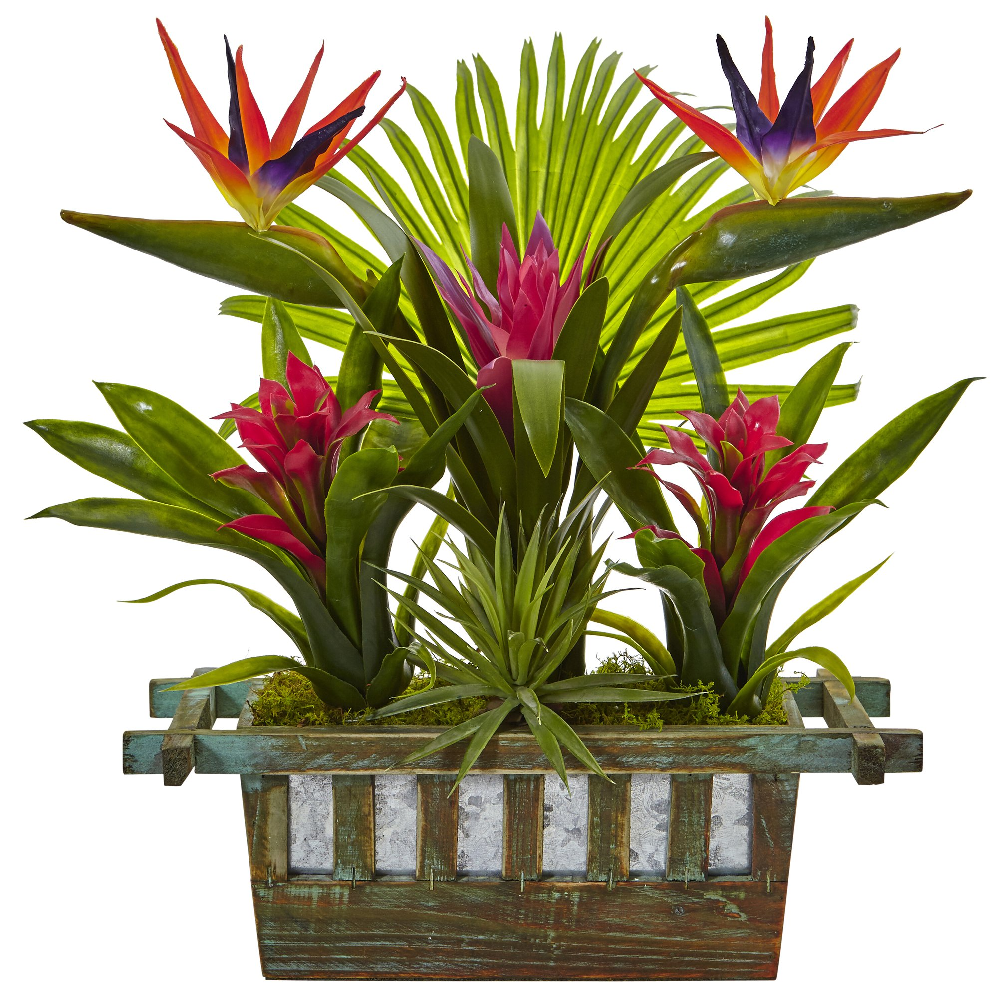 Nearly Natural 6306 Birds of Paradise and Bromeliad in Planter Red